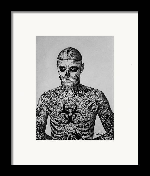 Rick Framed Print featuring the drawing Zombie Boy Rick Genest by Carlos Velasquez Art