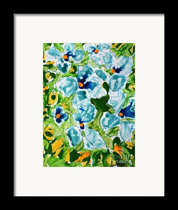 Flowersmy New Series   Zen Moksha Flowers/ Mann Flowers/miyoko Flowers• Each Work Tells A Story – Of Travels And Travails Framed Print featuring the painting Miyoko Flowers by Baljit Chadha