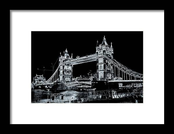 Bridge Framed Print featuring the digital art Tower Bridge Art by David Pyatt