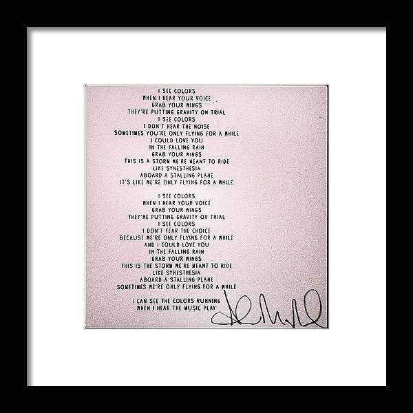 2000 Synesthesia Lyrics, Signed! Framed Print by Andrew Mcmahon