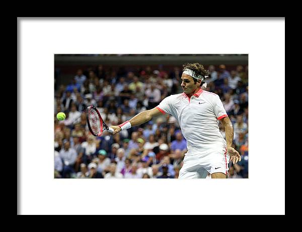 Roger Federer Framed Print featuring the photograph 2015 U.s. Open - Day 12 by Matthew Stockman