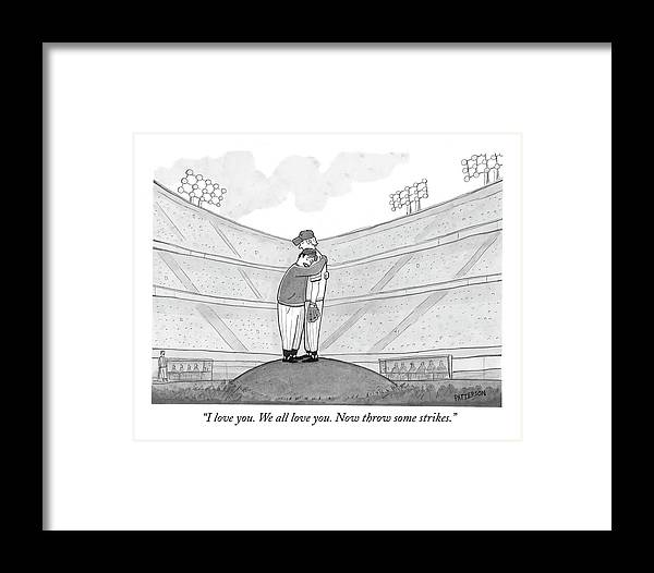 Support Framed Print featuring the drawing I Love You. We All Love You. Now Throw Some by Jason Patterson