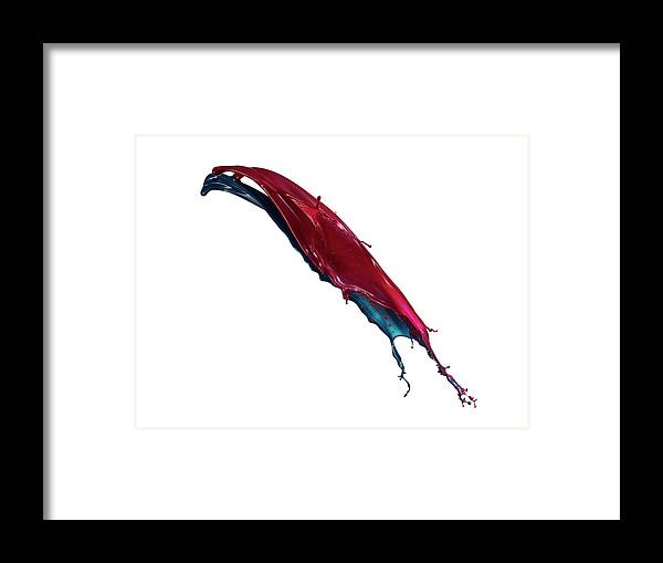 White Background Framed Print featuring the photograph Splashing Of The Color Paint by Level1studio