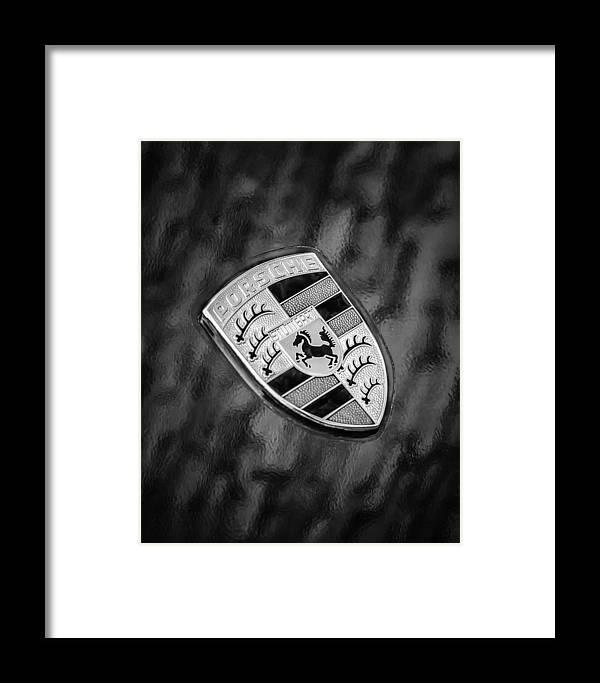 Porsche Emblem Framed Print featuring the photograph Porsche Emblem by Jill Reger