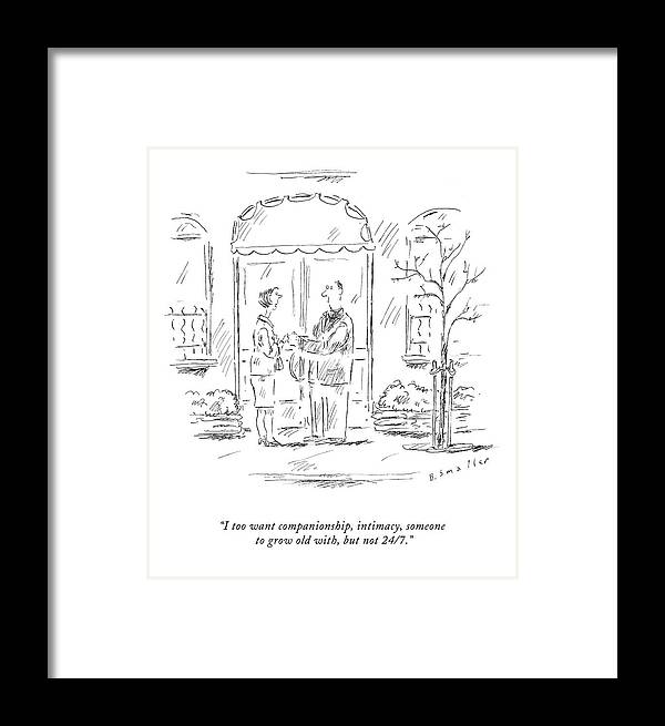 . Love Scene (breakup) Framed Print featuring the drawing I Too Want Companionship by Barbara Smaller