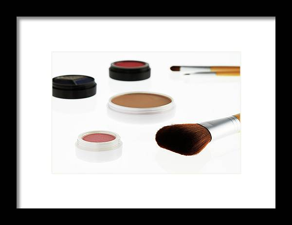 White Background Framed Print featuring the photograph Still Life Of Beauty Products by Stephen Smith