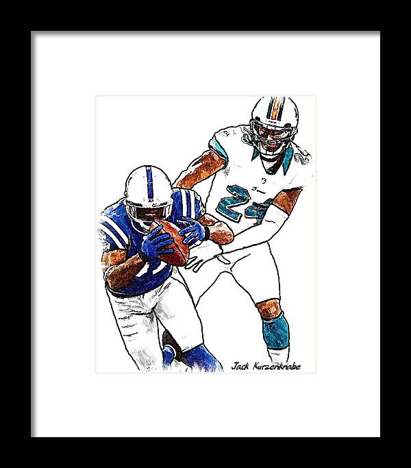 Sports Nfl Art Sketch Drawings nfl Art nfl Artwork nfl Drawings nfl Sketches miami Dolphins indianapolis Colts Framed Print featuring the digital art 289 by Jack K