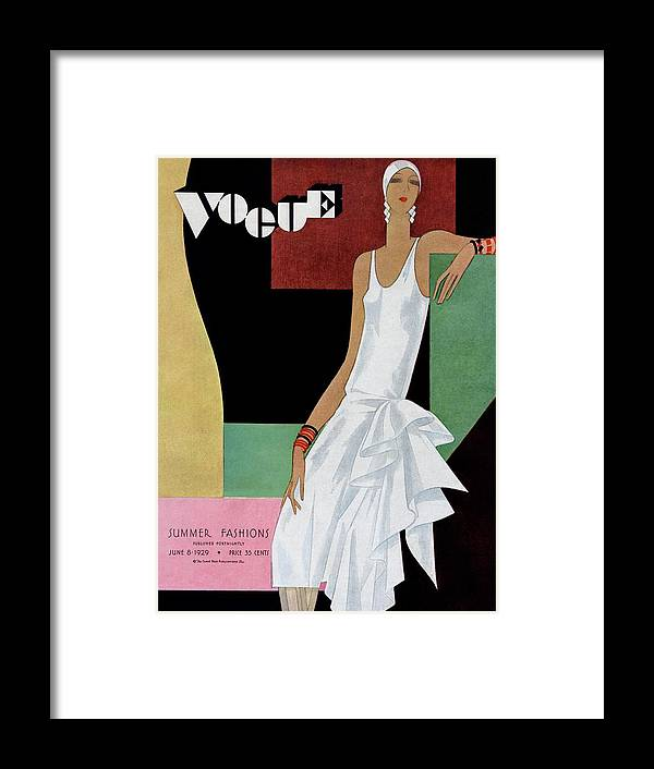 Illustration Framed Print featuring the photograph A Vintage Vogue Magazine Cover Of A Woman by William Bolin