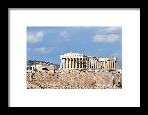 Acropolis; Acropoli; Akropoli; Akropolis; Parthenon; Erechthion; Erechtheion; Monument; Athens; City; Capital; Attica; Attika; Attiki; Greece; Hellas; Greek; Hellenic; Europe; European; Temple; Ancient; Sunshine; Holidays; Vacation; Travel; Trip; Voyage; Journey; Tourism; Touristic; Summer Framed Print featuring the photograph Acropolis Of Athens by George Atsametakis