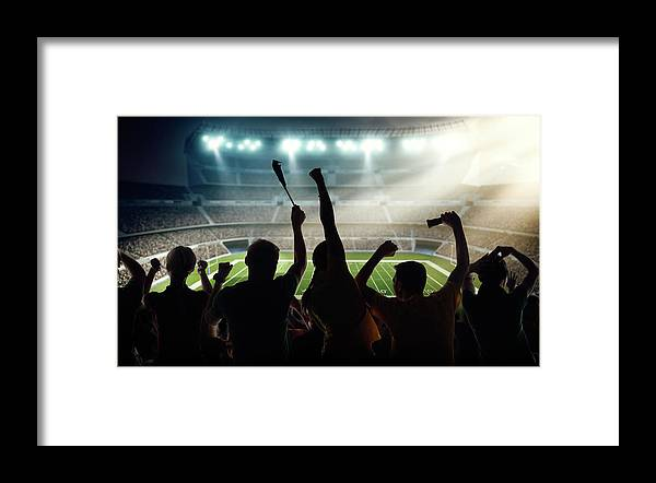 Event Framed Print featuring the photograph American Football Fans At Stadium by Dmytro Aksonov