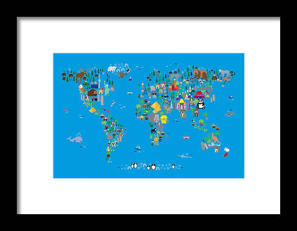 48df0479ac4 Map Of The World Framed Print featuring the digital art Animal Map Of The  World For
