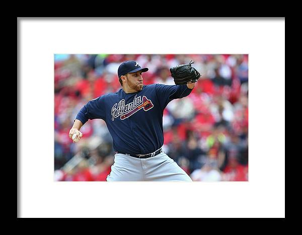 Aaron Harang Framed Print featuring the photograph Atlanta Braves V St. Louis Cardinals 3 by Dilip Vishwanat
