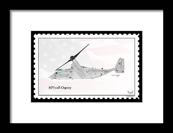 Bell Boeing Framed Print featuring the digital art Bell Boeing Mv-22b Osprey by Arthur Eggers