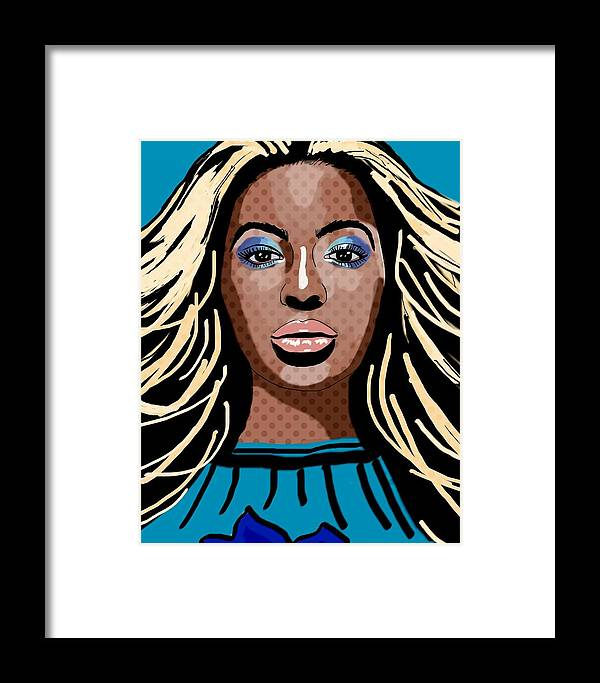 Beyonce Framed Print featuring the painting Beyonce by Bogdan Floridana Oana