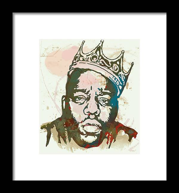 Biggie Smalls Colour Drawing Art Poster - Pop Art Framed Print featuring the drawing Biggie smalls Modern art drawing poster by Kim Wang