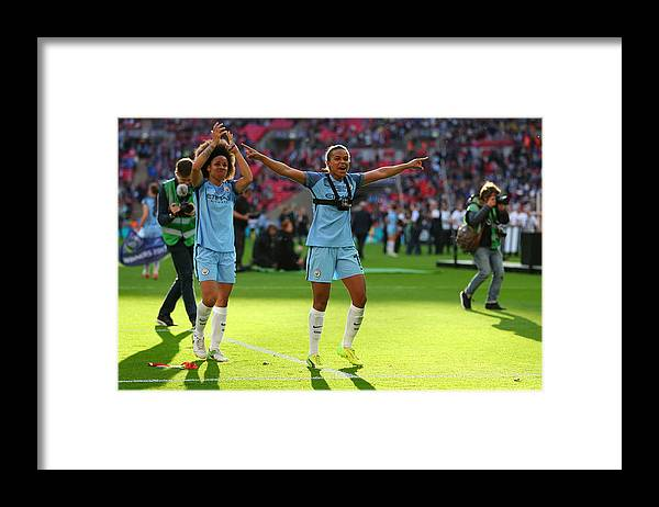 People Framed Print featuring the photograph Birmingham City Ladies v Manchester City Women - SSE Women's FA Cup Final by Catherine Ivill - AMA