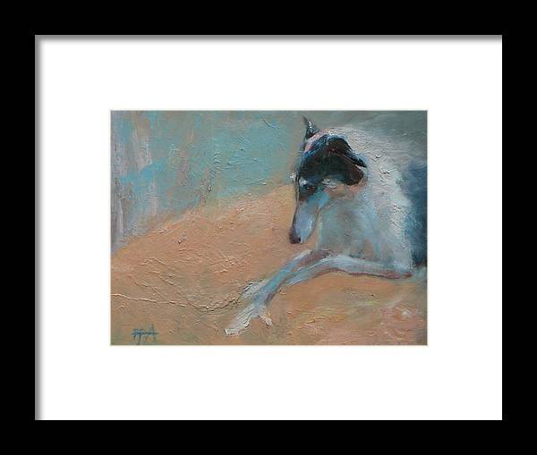 Animal Framed Print featuring the painting SOLD Borzoi Waiting for Dusk by Irena Jablonski
