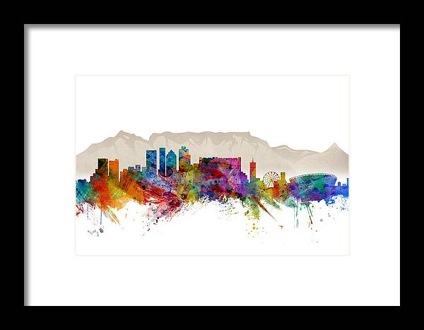 City Framed Print featuring the digital art Cape Town South Africa Skyline by Michael Tompsett