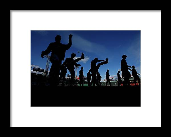 People Framed Print featuring the photograph Cincinnati Reds V Boston Red Sox by Jared Wickerham