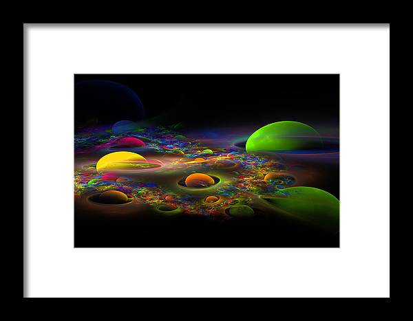 Green Framed Print featuring the photograph Computer Generated Spheres Abstract Fractal Flame Art by Keith Webber Jr