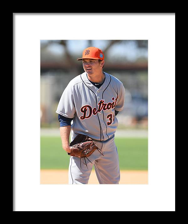 Three Quarter Length Framed Print featuring the photograph Detroit Tigers Workout by Mark Cunningham