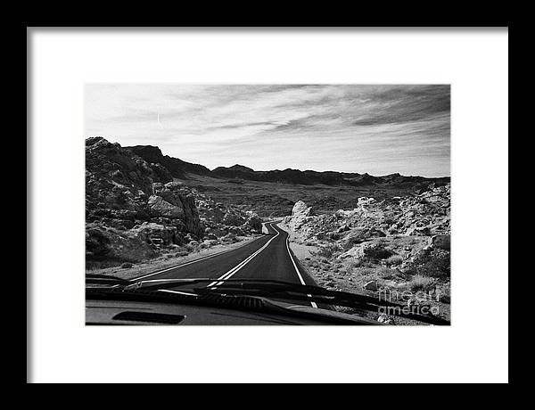 Valley Framed Print featuring the photograph Driving Along The White Domes Road In Valley Of Fire State Park Nevada Usa by Joe Fox