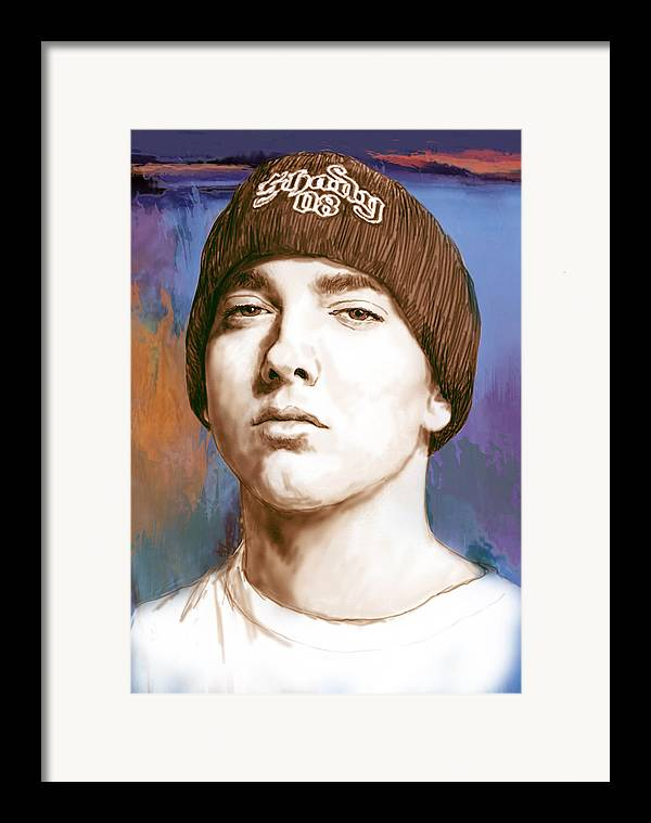 Art Drawing Sharcoal.ketch Portrait Framed Print featuring the drawing Eminem - Stylised Drawing Art Poster by Kim Wang