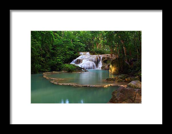 Amazing Framed Print featuring the photograph Erawan Waterfall by Kwankhaow Podjana