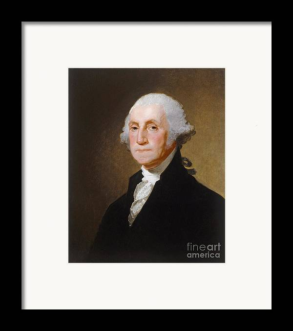 George; Washington; 1st; First; Us; President; United; States; America; Usa; Male; Portrait; Half; Length; Leader Framed Print featuring the painting George Washington by Gilbert Stuart