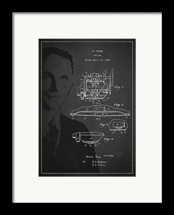 Henry Ford Framed Print featuring the digital art Henry Ford Engine Patent Drawing From 1928 by Aged Pixel