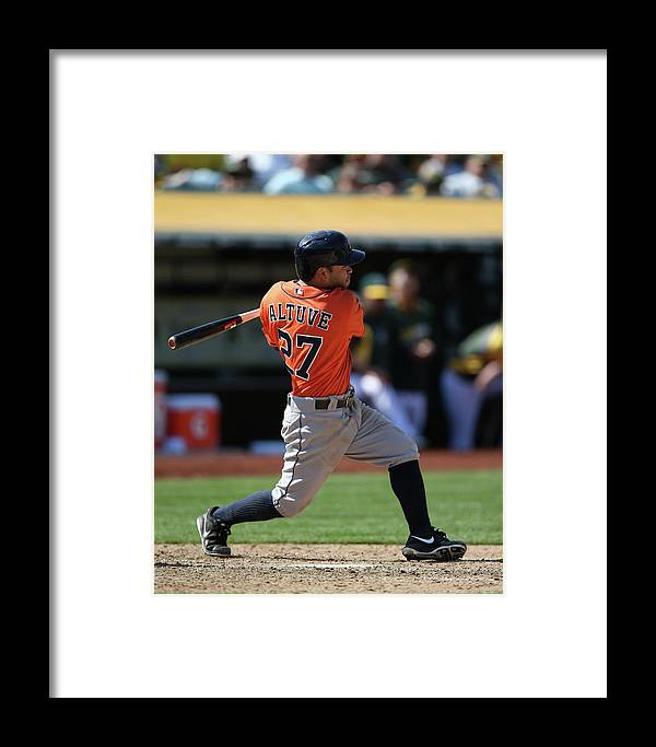 American League Baseball Framed Print featuring the photograph Houston Astros Vs. Oakland Athletics by Brad Mangin