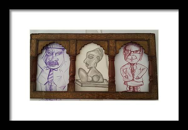 3 Handmade Charcoal Sketching In Which 2 Are Colored Violet And Brown & One Black On Cartridge Sheet.antique Woodan Frame From Rajasthan Framed Print featuring the drawing 3 In 1 by Palli Ritu