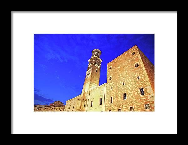 Clock Tower Framed Print featuring the photograph Italy, Verona by Hiroshi Higuchi