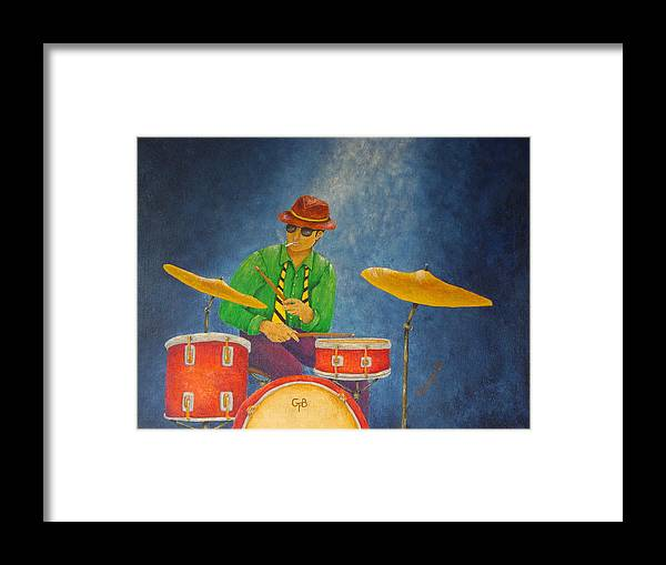 Pamela Allegretto-franz Framed Print featuring the painting Jazz Drummer by Pamela Allegretto