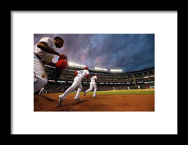 American League Baseball Framed Print featuring the photograph Kansas City Royals V Texas Rangers by Ronald Martinez