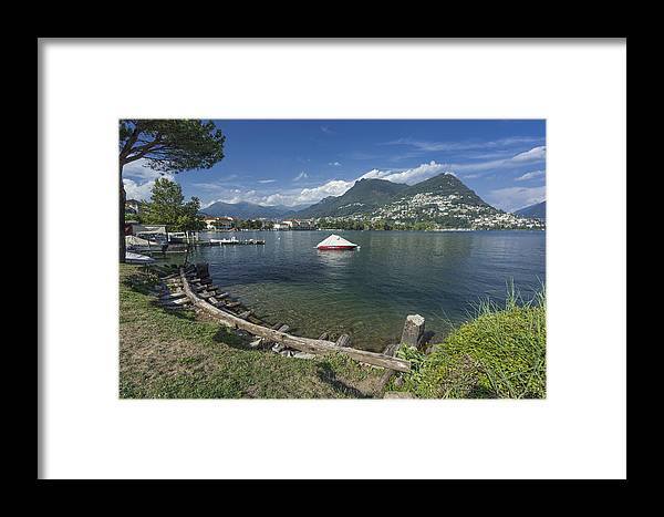 Lago Di Lugano Framed Print featuring the photograph Lugano By Lago Di Lugano by Radka Linkova