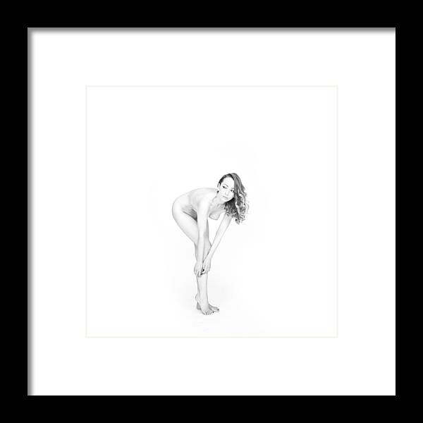 White Framed Print featuring the photograph Magdalena Nude by Andy Cubin