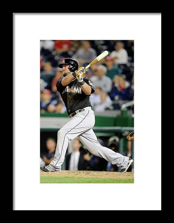 American League Baseball Framed Print featuring the photograph Miami Marlins V Washington Nationals 3 by Greg Fiume