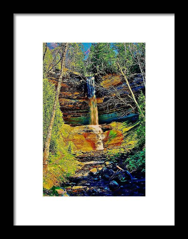 Munising Falls Framed Print featuring the photograph Munising Falls by Daniel Thompson