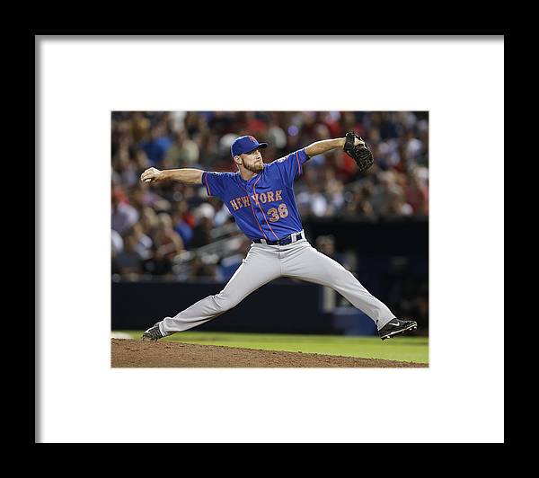 Atlanta Framed Print featuring the photograph New York Mets V Atlanta Braves by Mike Zarrilli