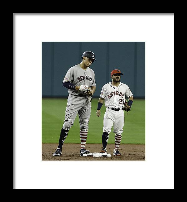 People Framed Print featuring the photograph New York Yankees v Houston Astros by Bob Levey
