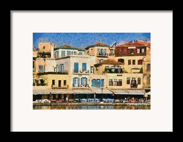 Chania; Hania; Crete; Kriti; Town; Old; City; Port; Harbor; Venetian; Greece; Hellas; Greek; Island; Hellenic; Islands; Morning Light; Sea; Reflection; Reflections; Color; Colour; Colorful; Colourful; Hotels; Taverns; Restaurants; Holidays; Vacation; Travel; Trip; Voyage; Journey; Tourism; Touristic; Summer; Paint; Painting; Paintings Framed Print featuring the painting Painting Of The Old Port Of Chania by George Atsametakis