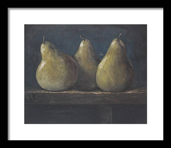 Still Life Framed Print featuring the painting 3 Peras by Silvia Lemos