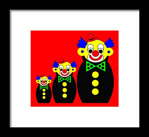 3 Russian Clown Dolls On Red Framed Print featuring the digital art 3 Russian Clown Dolls on red by Asbjorn Lonvig