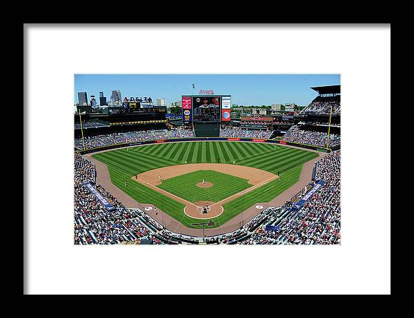 Atlanta Framed Print featuring the photograph San Francisco Giants V Atlanta Braves by Scott Cunningham