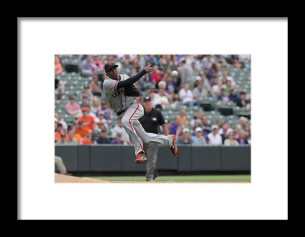 Ninth Inning Framed Print featuring the photograph San Francisco Giants V Colorado Rockies by Doug Pensinger