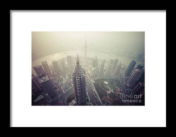 Carbon Framed Print featuring the photograph Shanghai Pudong Skyline by Fototrav Print