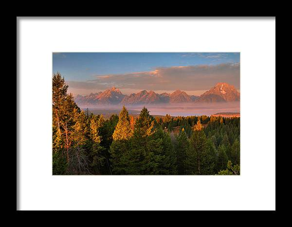The Tetons Framed Print featuring the photograph Signal Mountain Sunrise by Stephen Vecchiotti