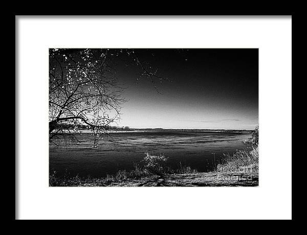 South Framed Print featuring the photograph south Saskatchewan river near saskatoon Canada by Joe Fox