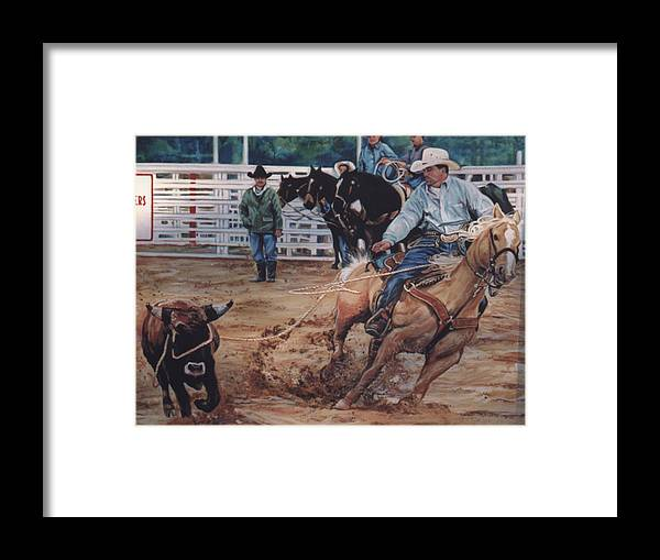 Portrait Framed Print featuring the painting South Texas Cowboy by Diann Baggett